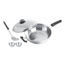 32cm 5-Ply Wok W/Lid & 2 Pcs 9cm Bowl